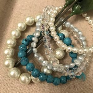 Pearl and Blue Bracelet Stack 5 pc